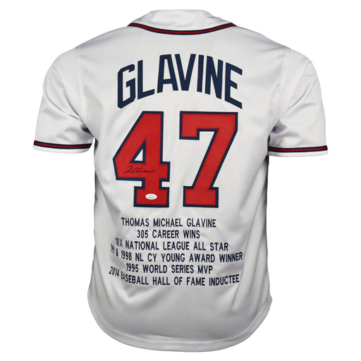 Tom Glavine Signed Atlanta Pro-Edition White Stats Baseball Jersey (JSA)