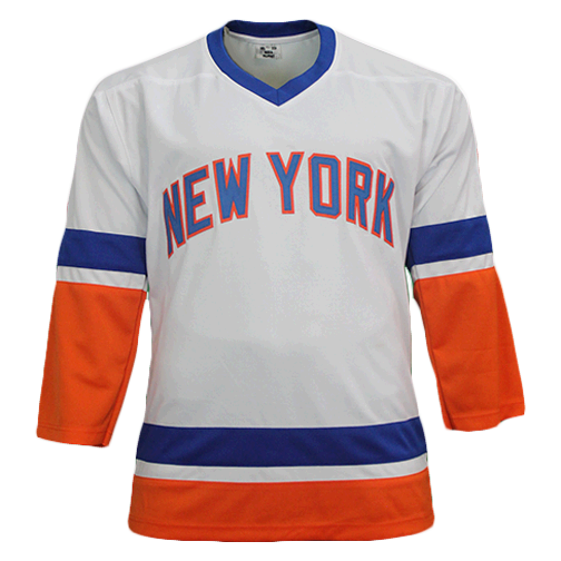 Butch Goring Autographed Pro Style New York Hockey Jersey White (JSA) 4x Stanley Cup Inscription Included
