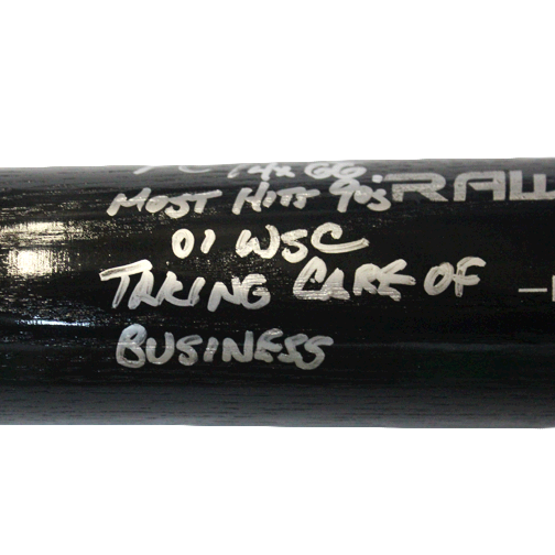 Mark Grace Autographed Full Size Rawlings Baseball Bat Black (JSA) with Rare 4 Inscriptions GG x 4, Taking Care of Business, 01 WSC, Most Hits 90's