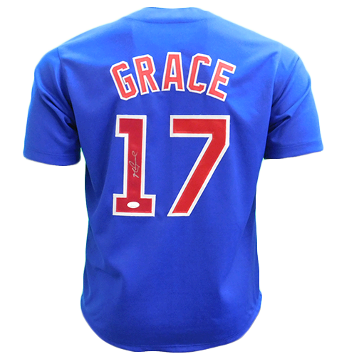Mark Grace Throwback Autographed Pro Style Baseball Jersey Blue (JSA COA)