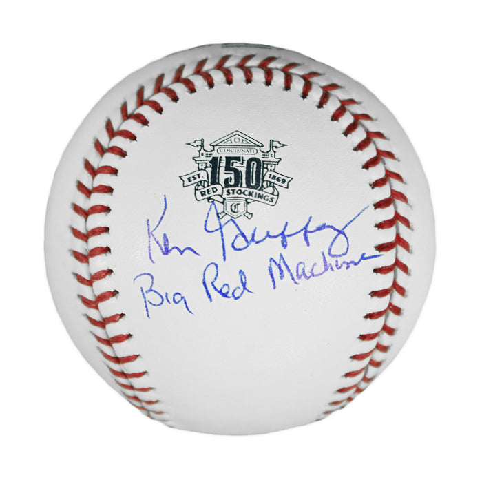Ken Griffey Sr Signed Big Red Machine Inscription Official MLB Reds 150th Anniversary Baseball (JSA)