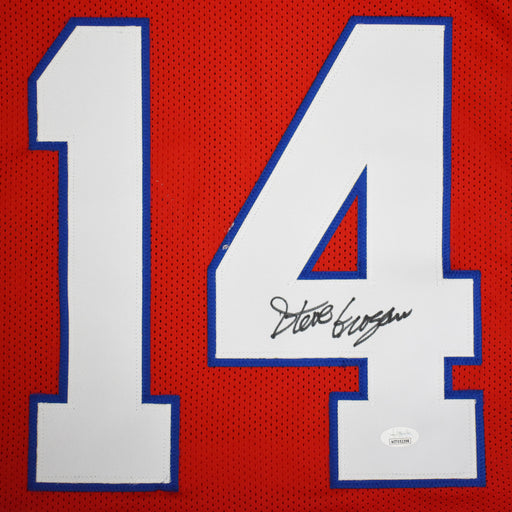Steve Grogan Signed Pro-Edition Red Football Jersey (JSA)