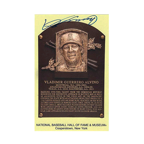Vladimir Guerrero Autographed Baseball Hall of Fame Plaque Card JSA