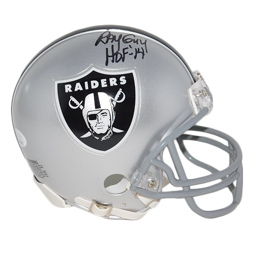 Ray Guy Autographed Oakland Raiders Mini Football Helmet HOF 14 Inscription (JSA)