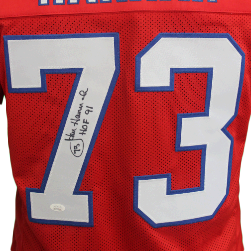 John Hannah Autographed Pro Style Football Jersey Red (JSA) w/ Inscription