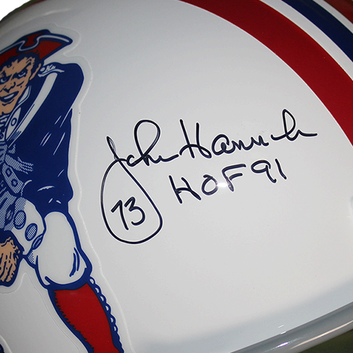 John Hannah New England Patriots Autographed Replica Full Size Football Helmet (JSA) w/ Inscription