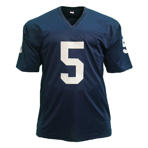 Terry Hanratty Notre Dame Autographed Football Jersey Blue (JSA) 1966 National Champs Inscription Included