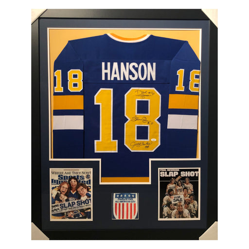 hanson slap shot blue autographed framed hockey jersey