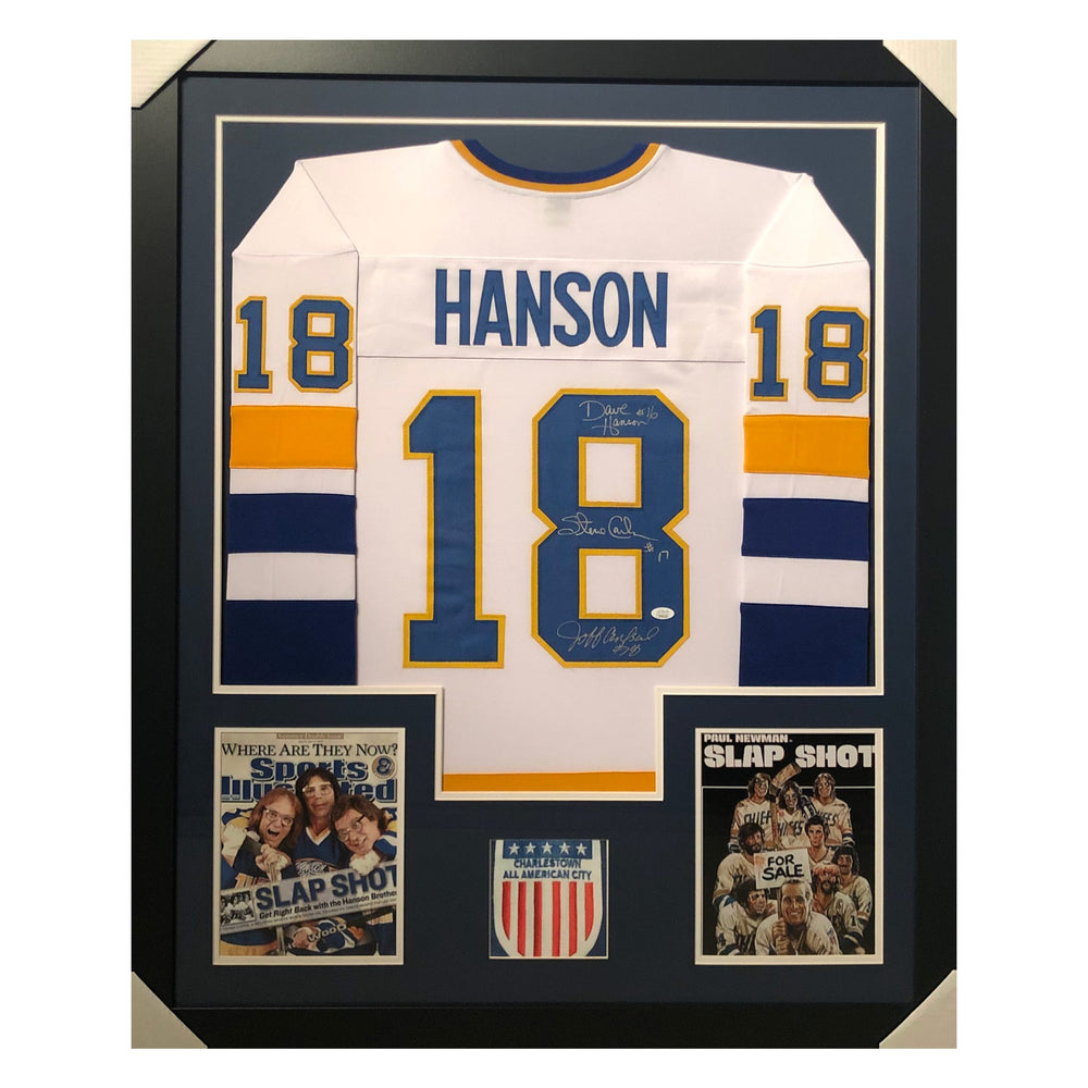 hanson slap shot white autographed framed hockey jersey