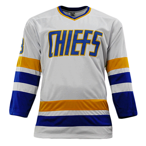 Hanson Brothers Signed Slap Shot White Hockey Jersey (JSA)