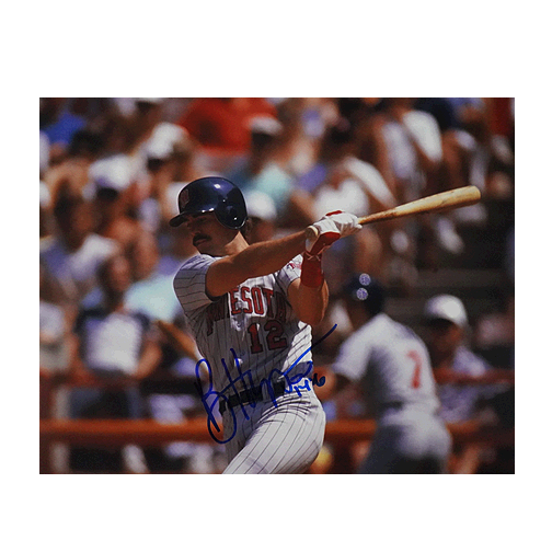 Brian Harper Signed Minnesota Twins Swing 8x10 Photo (RSA)