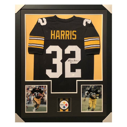 harris steelers black autographed framed football jersey
