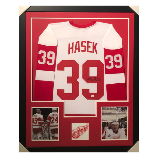 hasek red wings white autographed framed hockey jersey