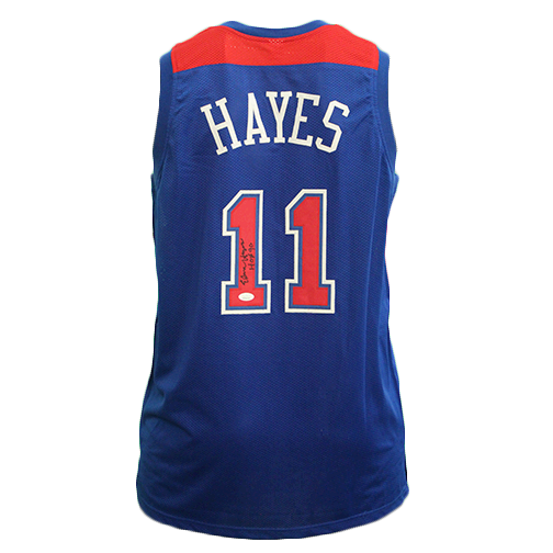 "Elvin Hayes Pro Style Autographed Basketball Jersey Blue (JSA) ""HOF"" Inscription Included"