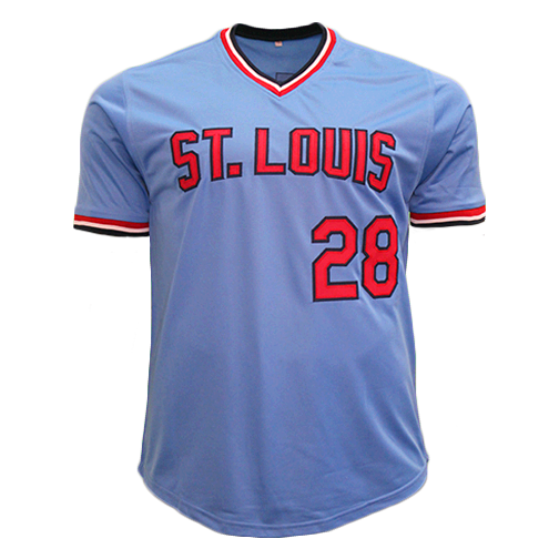 free shipping ba4a4 b9cf3 Tommy Herr Autographed St. Louis Throwback Baseball Jersey Powder Blue (JSA  COA)