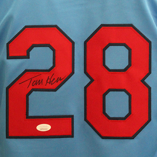 Tommy Herr Autographed  St. Louis Throwback Baseball Jersey Powder Blue (JSA COA)