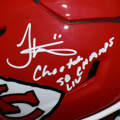 Tyreek Hill Signed Cheetah SB Champs 54 Inscription Kansas City Chiefs SpeedFlex Full-Size Replica Red Football Helmet (JSA)