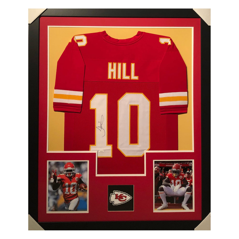hill chiefs red autographed framed football jersey