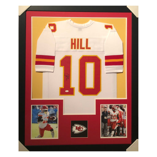 hill chiefs white autographed framed football jersey