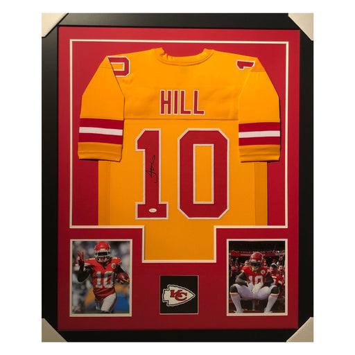 hill chiefs yellow autographed framed football jersey