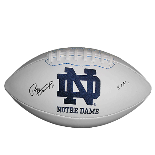 Paul Hornung Notre Dame Autographed Full Size Logo Football (JSA) 56 Heisman Inscription