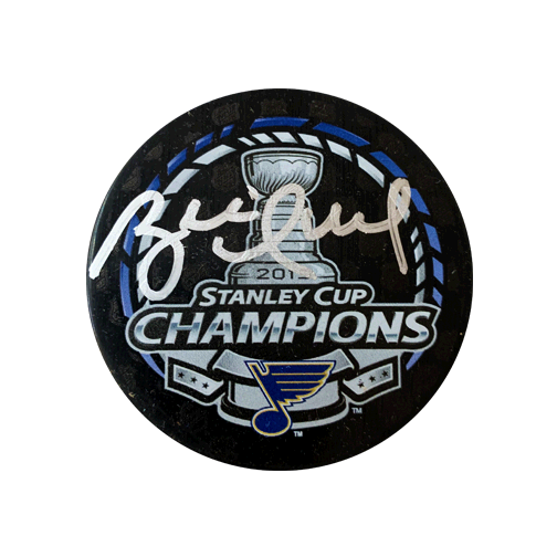 Brett Hull Autographed 2019 St. Louis Blues Stanley Cup Champions Puck Cased (PSA)