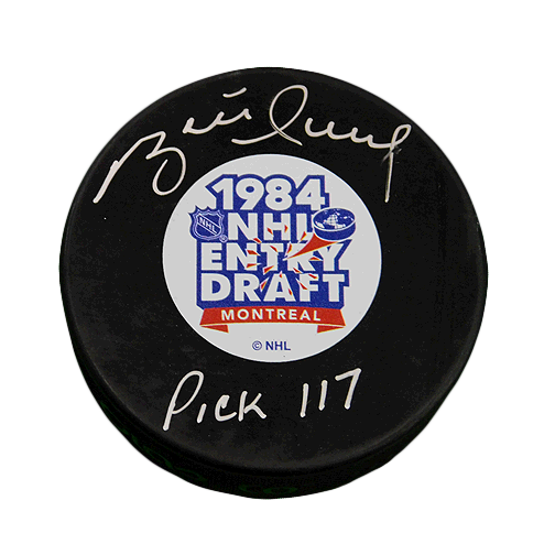 Brett Hull Signed Pick 117 Montreal 1984 NHL Entry Draft Puck (PSA)