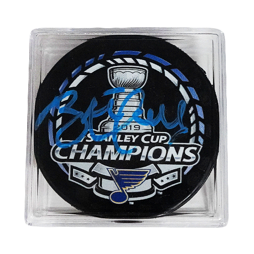 Brett Hull Autographed 2019 St. Louis Blues Stanley Cup Champions Puck Blue Signature Cased (PSA)