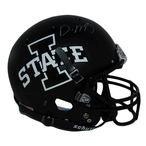 David Montgomery Autographed Iowa State Full Size Schutt Black Football Helmet (JSA!