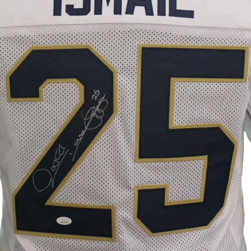 Rocket Ismail Notre Dame Autographed Football Jersey White (JSA)