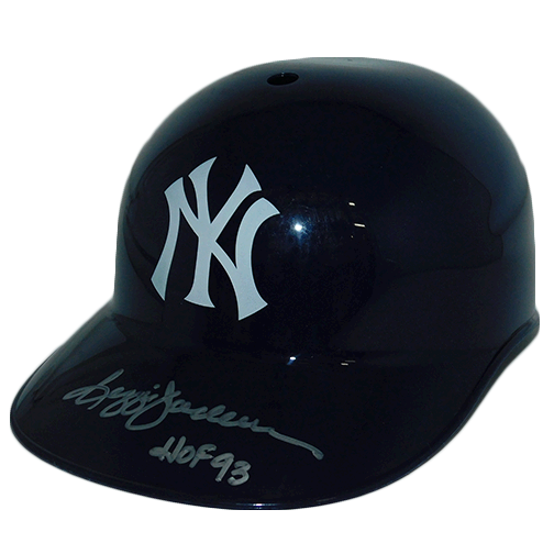 Reggie Jackson New York Yankees Autographed Full Size Souvenir Baseball Batting Helmet (JSA COA) HOF Inscription