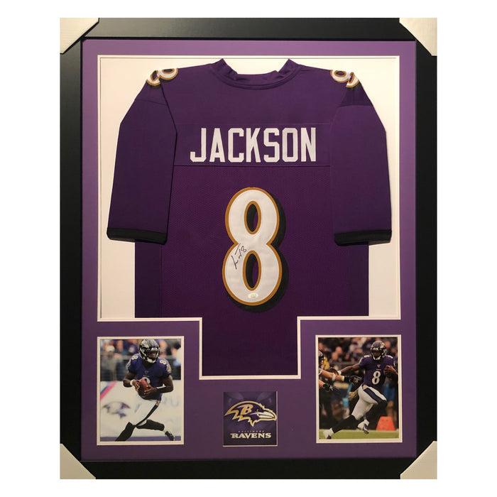 jackson ravens purple autographed framed football jersey
