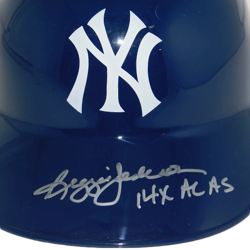 Reggie Jackson New York Yankees Autographed Full Size Souvenir Baseball Batting Helmet (JSA) 14X AL AS Inscription