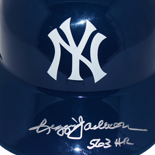 Reggie Jackson New York Yankees Autographed Full Size Souvenir Baseball Batting Helmet (JSA COA) 563 HR Inscription