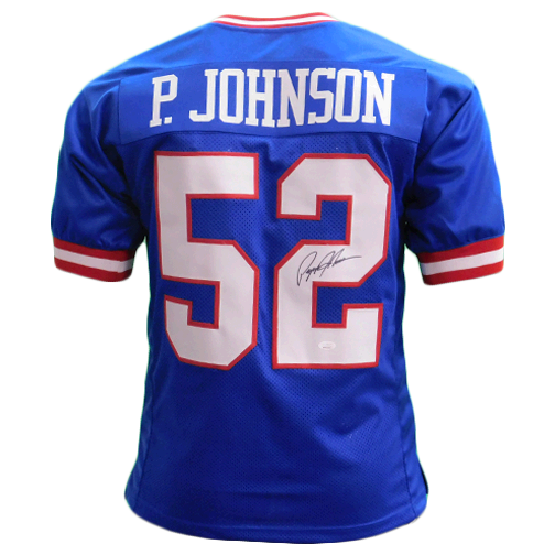 Pepper Johnson Autographed Pro Style Blue Football Jersey (JSA)
