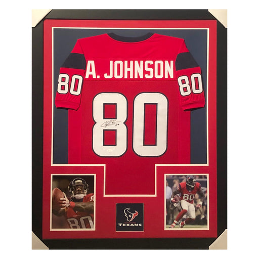 johnson texans red autographed framed football jersey