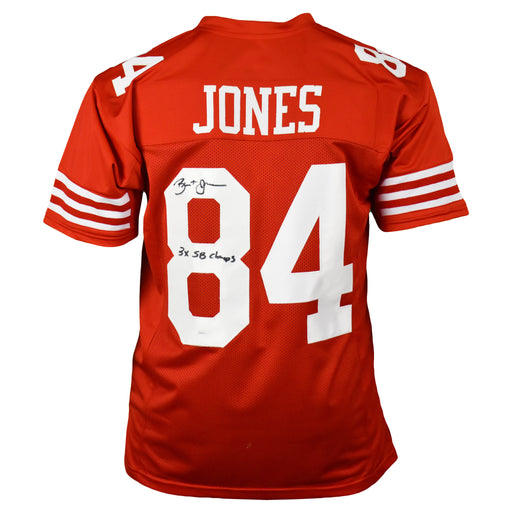 Brent Jones Signed 3x SB Champs Pro-Edition Red Football Jersey (JSA)