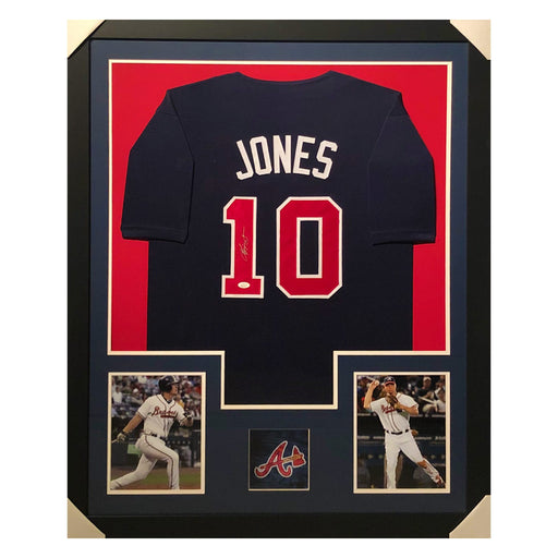 jones braves blue autographed framed baseball jersey