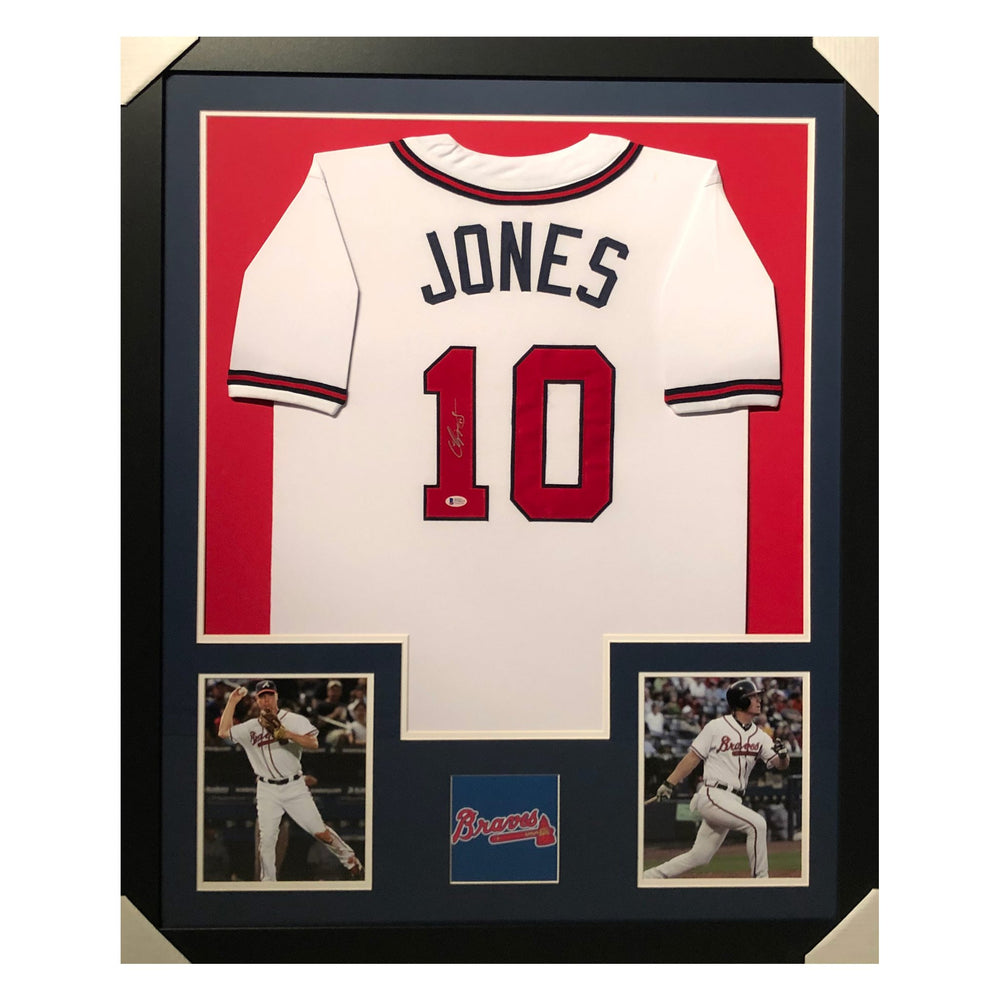 jones braves white autographed framed baseball jersey