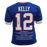 Jim Kelly Autographed Pro Style Football Jersey Blue STAT (JSA)