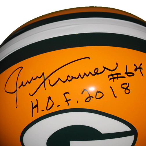 Jerry Kramer Green Bay Packers Autographed Full Size Replica Football Helmet Yellow (JSA) HOF Inscription Included