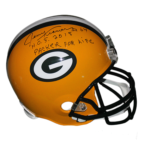 "Jerry Kramer Green Bay Packers Autographed Full Size Replica Football Helmet Yellow (JSA) Rare ""Packer For Life"" and ""HOF"" Inscription Included"