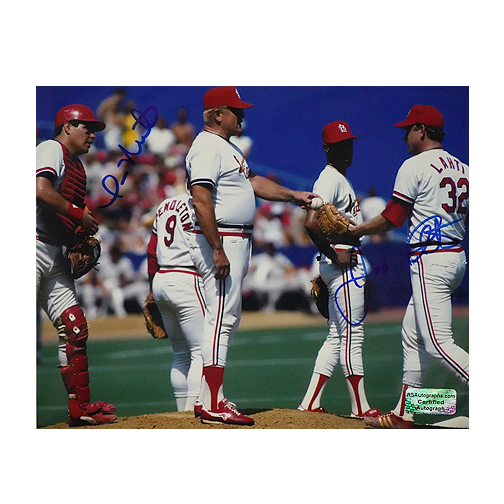 Jeff Lahti & Tom Neito Dual-Signed St. Louis Cardinals Mound 8x10 Photo (RSA)