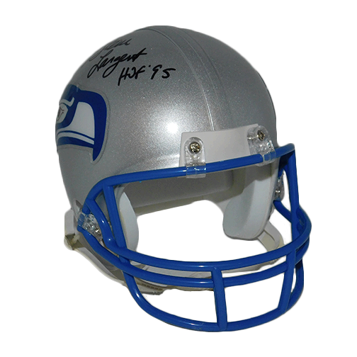 Steve Largent Seahawks Autographed Mini Football Helmet (JSA COA) HOF-95 Inscription Included