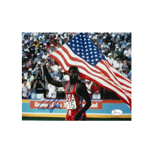 Carl Lewis Autographed  8 x 10 Olympic Photo JSA COA Flag Pose MISC