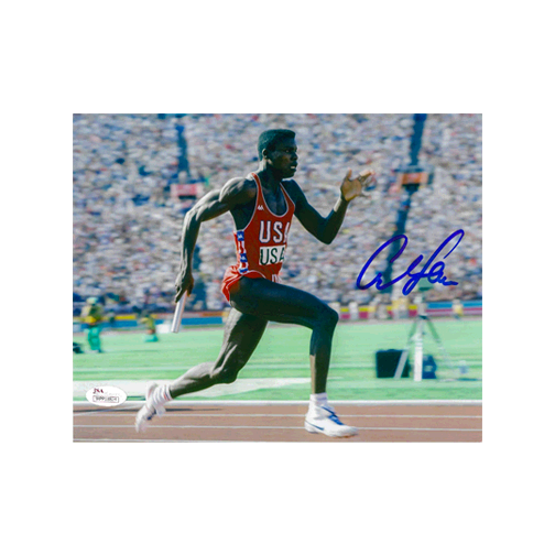 Carl Lewis Autographed 8 x 10 Olympic Photo (JSA)Relay Pose