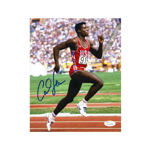 Carl Lewis Autographed  8 x 10 Olympic Photo JSA COA Sprint Pose