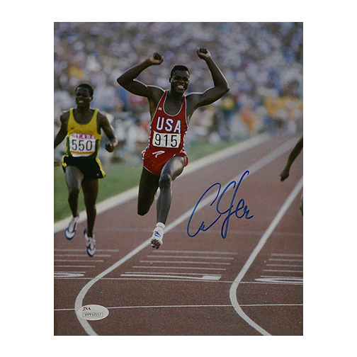 Carl Lewis Signed Olympics Finish 8x10 Photo (JSA)