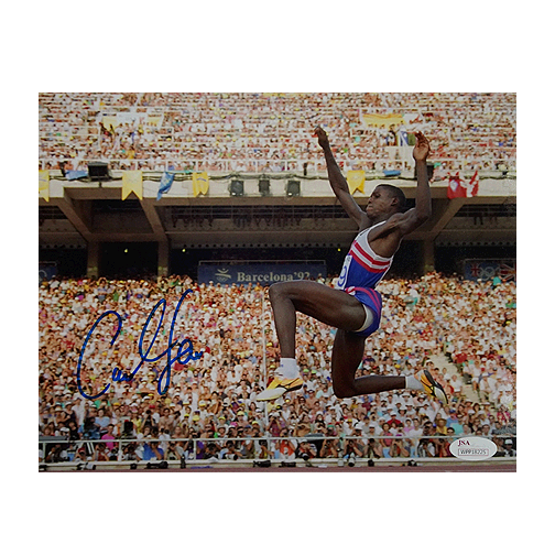 Carl Lewis Signed Olympics Long Jump 8x10 Photo (JSA)
