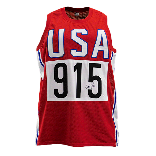 Carl Lewis Signed USA Competitor Red Jersey (JSA)